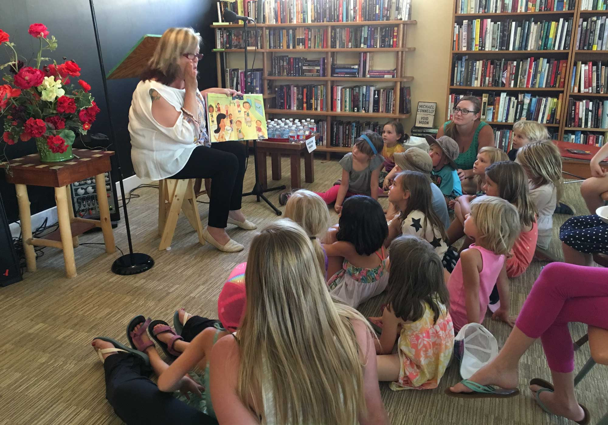Children's book reading at SOMOS in Taos, New Mexico