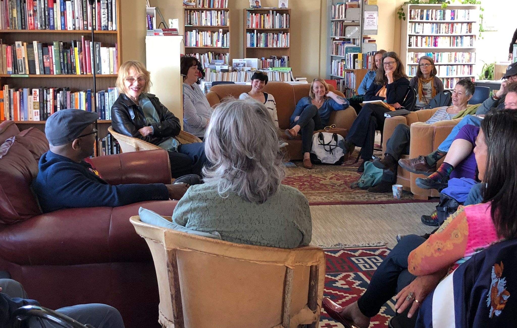 A discussion group talking as part of the Taos Writers Showcase at SOMOS